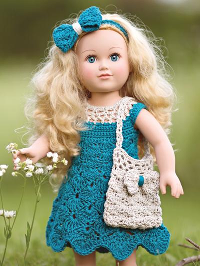 Summer 18 in Doll dress Crochet pattern 0 dress bag, and headband aff
