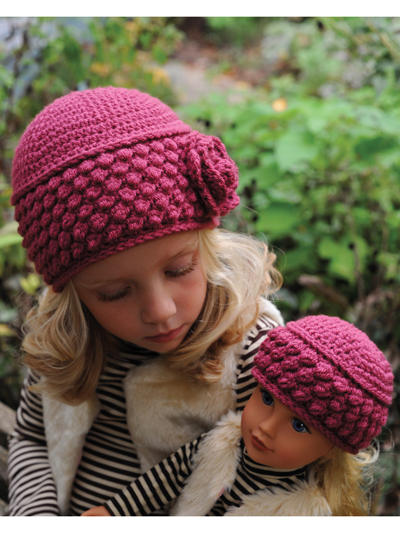 Rosedale Vintage Hat With A Flower Crochet Pattern for Dollie & Me  doll to adult sizes aff