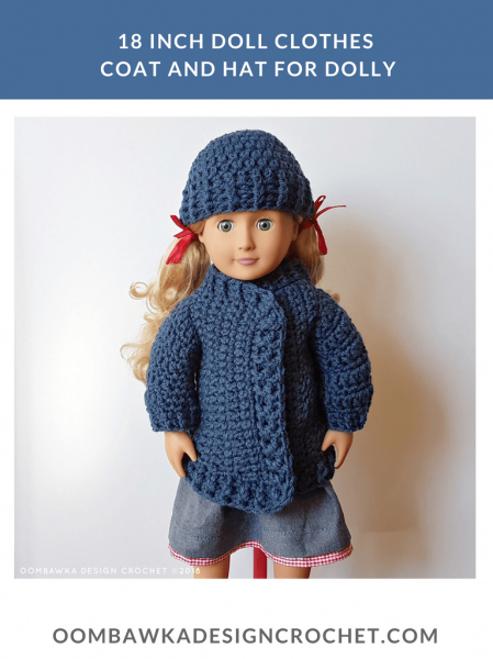 18-inch doll hat and coat FREE crochet pattern from Oombawka Design
