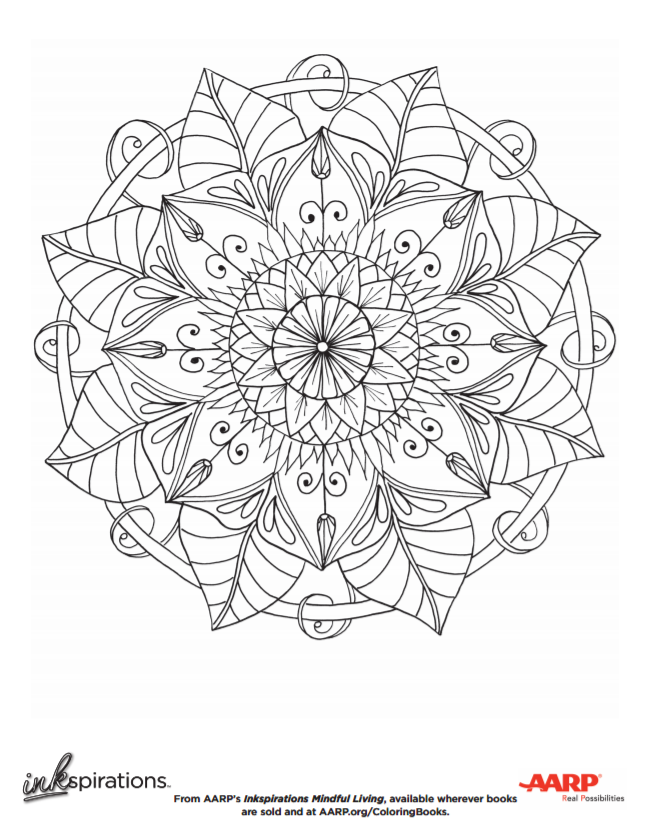 Coloring Books for Seniors: Including Books for Dementia and Alzheimers - AARP Inkspiration Free Mandala Coloring Page