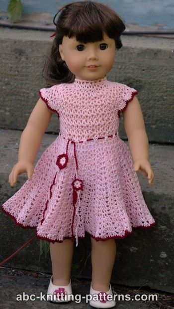ABC Knitting American Girl Doll Apple Blossom Dress - Free Pattern