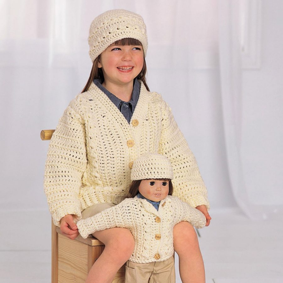 Free 18-inch Doll and Matching Child's Hat and Sweater Crochet Pattern