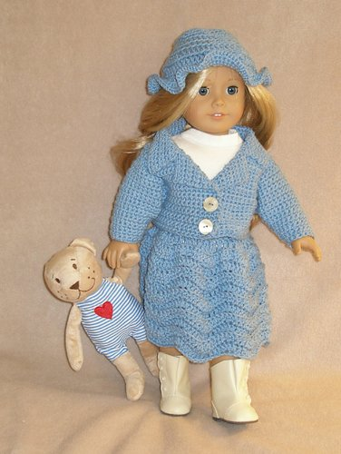Betty Blue Skirt and Sweater Crochet Pattern 18-in doll