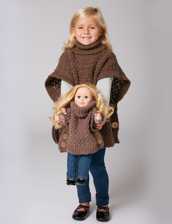 Free Crochet Pattern - 18-in Doll Dollie and Me Matching Big Button Poncho Sweater