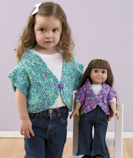 Free Crochet Pattern - 18-in Doll Dollie and Me Matching Shrugs Sweaters