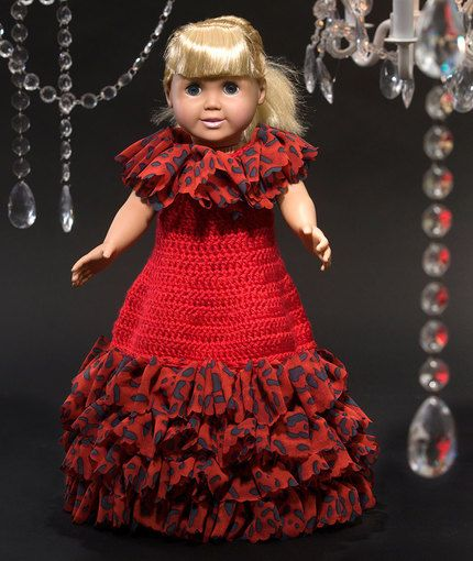 Free Crochet Pattern - 18-inch Doll Ball Gown Special Occasion Dress