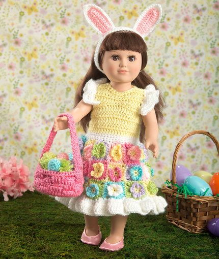 Free Crochet Pattern - 18-inch Doll Easter Dress Basket Eggs