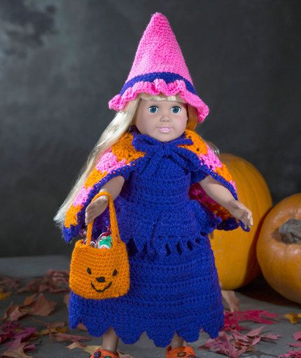 Free Crochet Pattern - 18-inch Doll Halloween Costume Witch