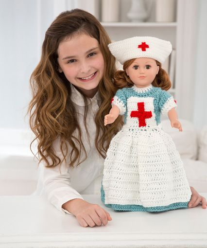 Caring Vintage Nurse Uniform for 18-in Doll - Free Crochet Pattern