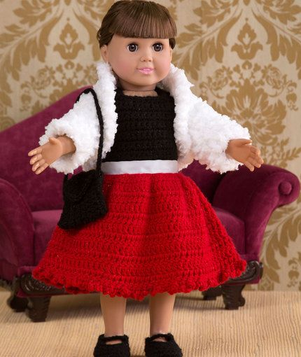 Free Crochet Pattern - 18-inch Doll Special Occasion Party Dress