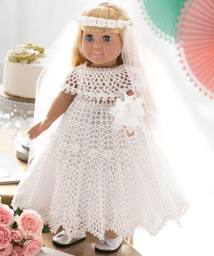 Free Crochet Pattern - 18-inch Doll Wedding Dress Bridejpg