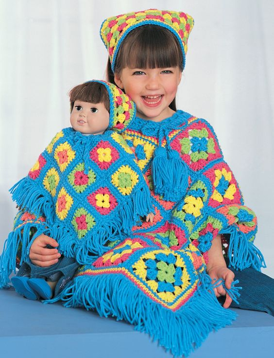 Free Crochet Pattern - Dollie and Me Matching Granny Square Ponchos