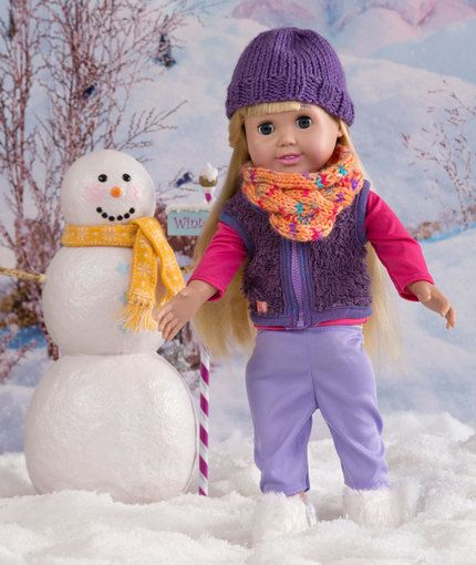 Free Crochet Pattern - Hat Cowl Winter Accessories for 18-inch doll