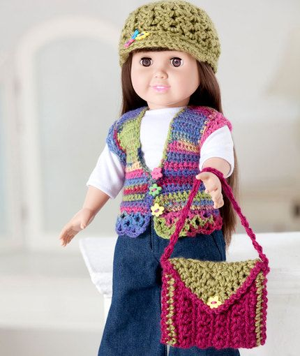 Free Crochet Pattern - Hat Purse Vest Accessories for 18-inch doll