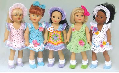 "Granny's Sunday Best Dress Crochet Patterns For 18"" Dolls"