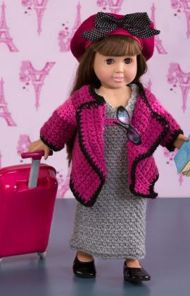 World Traveler Doll Outfit Free From Redheart Yarn Paid and Free Crochet Patterns for 18-inch Dolls Like the American Girl Doll