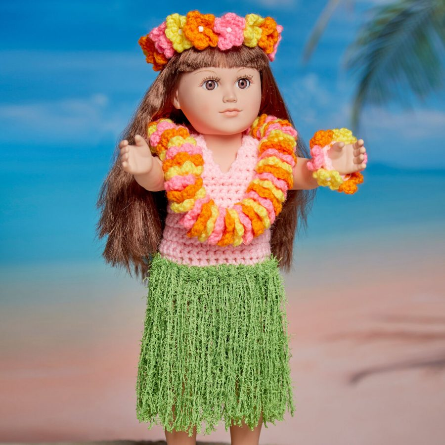 Free Crochet Pattern for 18-inch Dolls - Hula Dancer with accessories