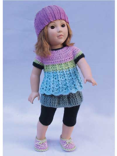 Simple Basic Wardrobe for 18-Inch Dolls - Crochet Pattern From 1 simple basic dress pattern, you can create an endless, amazing wardrobe by just changing the length, color, edging or sleeves. Then add the accessories, which are also basic patterns that can be changed to give entirely different looks. Crochet using baby- and sport-weight yarns.