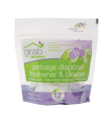 GrabGreen Garbage Disposal Freshener & Cleaner Pods, Thyme with Fig Leaf - Guide to Healthy Cleaning: Top Products & Scary Ingredients to Avoid