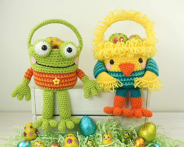 Fun Easter Basket Crochet Patterns - Free & Paid - Chick and Frog Easter Baskets by Moji-Moji Design - $5.99