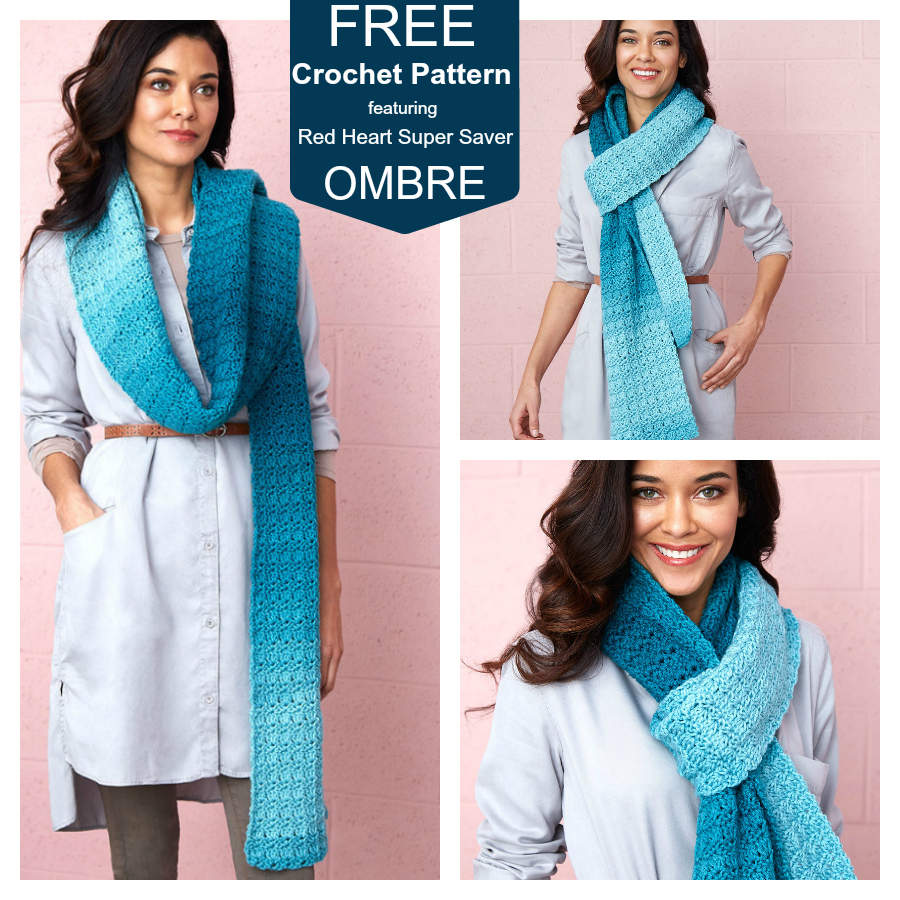Free Crocheted Scarf Crochet Pattern featuring the NEW Red Heart Super Saver Yarn in True Teal Ombre