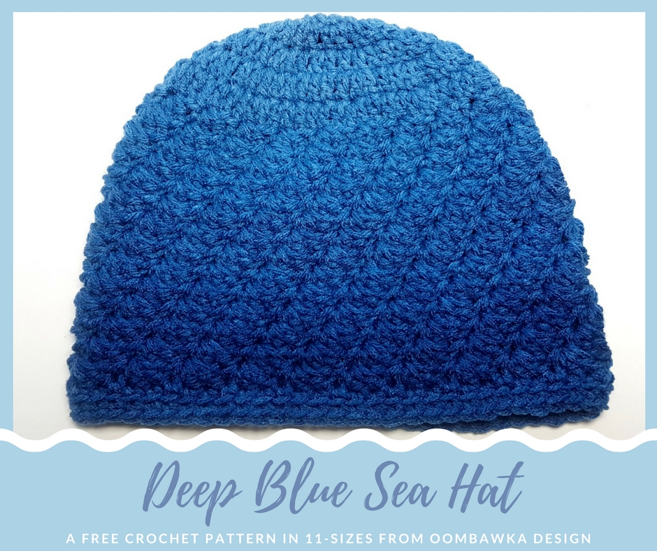 Free Crochet Pattern Red Heart Ombre True Blue Yarn - Deep Blue Sea Hat in 11 sizes by project by Oombawka Design