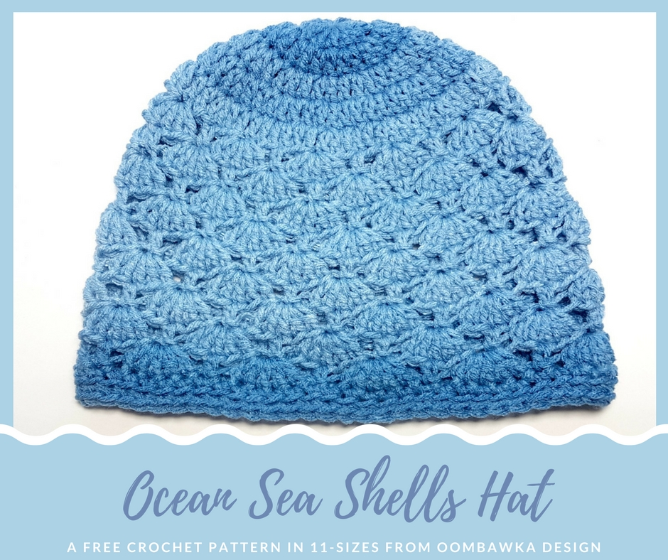 Free Crochet Pattern Red Heart Ombre True Blue Hat by project by Oombawka Design