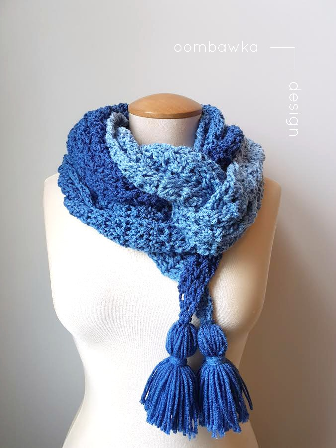 Free Crochet Pattern featuring Red Heart Ombre True Blue - Ocean Breeze Scarf - 1 skein project by Oombawka Design