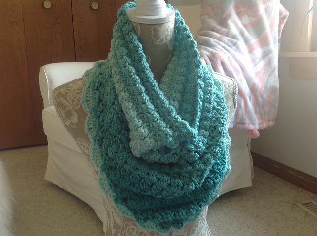 Free Crochet Pattern - One skein Elemental Triangle Cowl by Lorene Haythorn Eppolite- Cre8tion Crochet stitched by & photo credit Ravelry user mtorresusa0