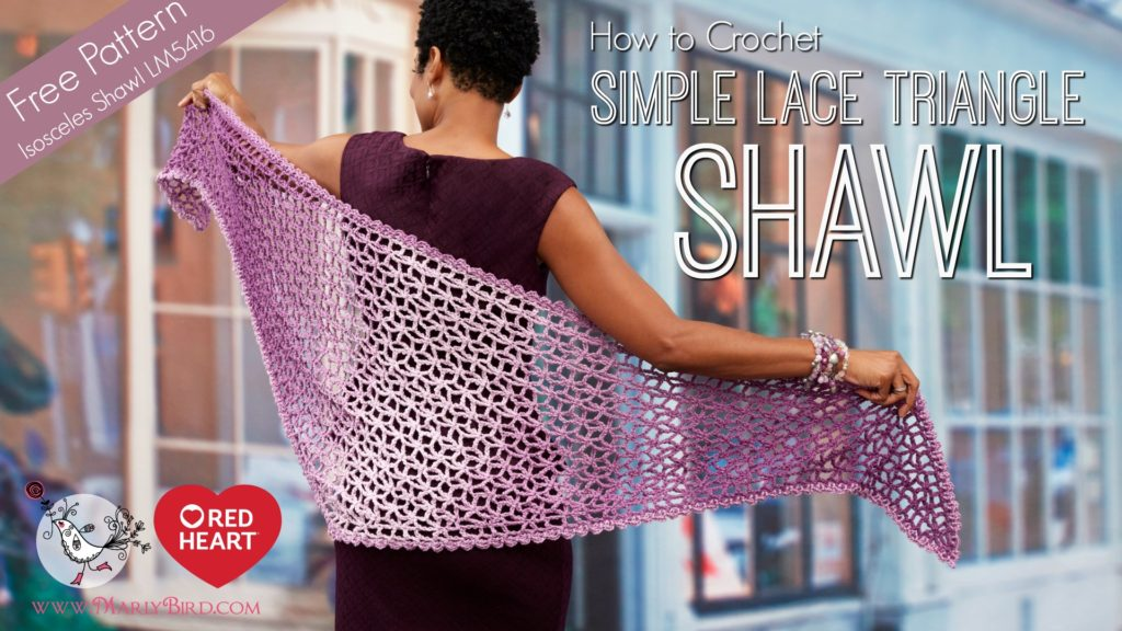 Red Heart Ombre Yarn Free Crochet Pattern - Lacy Isosceles Shawl by Marly Bird