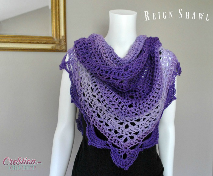 Free Crochet Pattern featuring Red Heart Ombre Yarn in Purple - Reign Shawl by Lorene Eppolite of Cre8tion Crochet