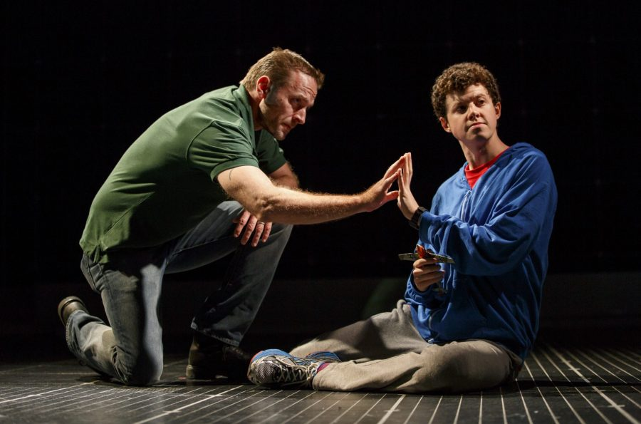 CuriousTour0596r – Gene Gillette as Ed and Adam Langdon as Christopher Boone in the touring production of The Curious Incident of the Dog in the Night-Time. Photo: Joan Marcus.