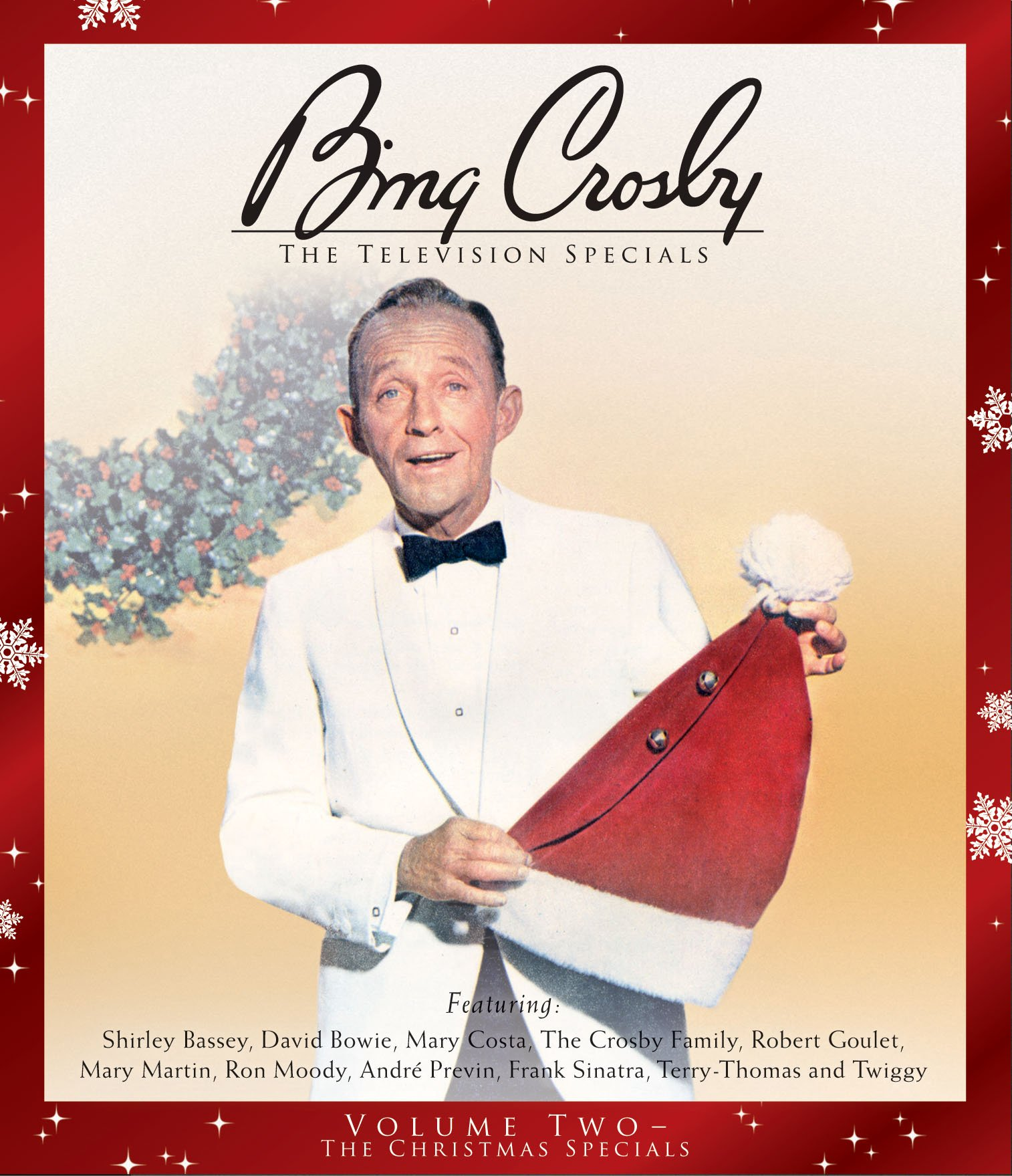 This is a 2 DVD set. DVD 1 is 2 episodes of a Bing Crosby show not related to Christmas. DVD 2 is two of his Christmas Specials from the 1970s, including his very last TV special. Features Shirley Bassey, David Bowie, Mary Costa, The Crosby Family, Robert Goulet, Mary Martin, Ron Moody, Andre Previn, Frank Sinatra, Terry-Thomas and Twiggy.