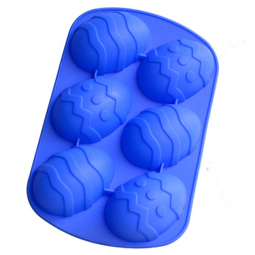 Easter Egg Shaped Silicone Bakeware with imprinted shapes - 6 cavities