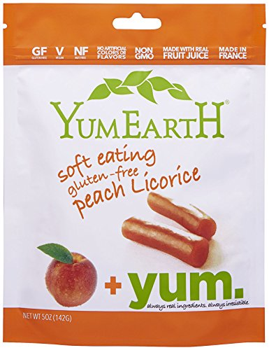 YumEarth Soft Eating Licorice Gluten-Free Peach Flavor 5-Ounce Pack - GF, V, NF, NON GMO