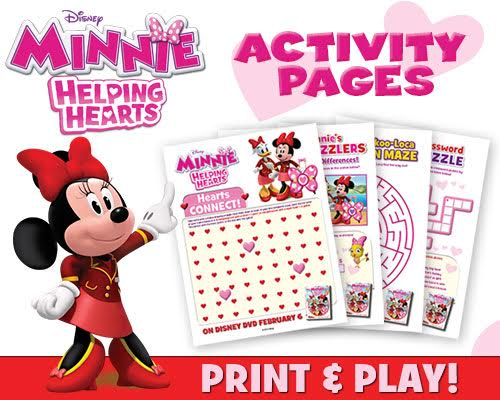 minnie: helping hearts dvd and free valentine's day printables, Ideas