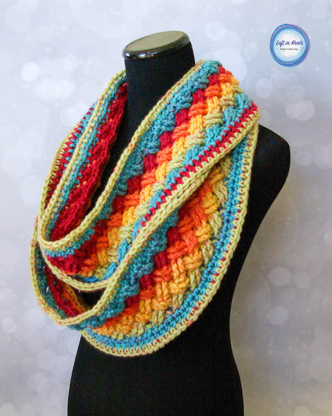 Free Lucky Celtic Infinity Scarf Crochet Pattern by Left in Stitches made with one Caron Cake
