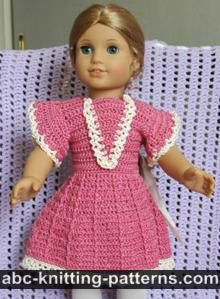 American Girl Doll Free Crochet Pattern by ABCknitting-patterns.com - Crochet Summer Dress