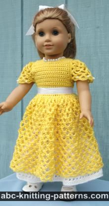 American Girl Doll Free Crochet Pattern by ABCknitting-patterns.com - Princess Dress
