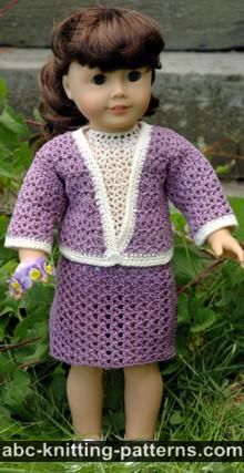 American Girl Doll Free Crochet Pattern by ABCknitting-patterns.com - Crochet English Garden Suit (Skirt and Cardigan)
