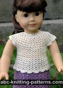 American Girl Doll Free Crochet Pattern by ABCknitting-patterns.com - Elegant Summer Blouse