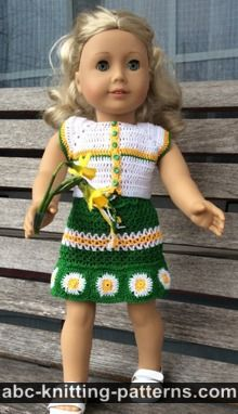 American Girl Doll Free Crochet Pattern by ABCknitting-patterns.com - Fields of Daisies Skirt and Top