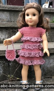 American Girl Doll Free Crochet Pattern by ABCknitting-patterns.com - Evening Dress with Ruffles