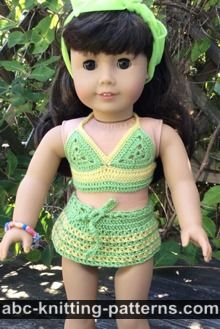 American Girl Doll Free Crochet Pattern by ABCknitting-patterns.com - Two-Piece Swim Suit (Bikini Top and Skirt Bottom)