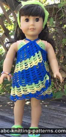 American Girl Doll Free Crochet Pattern by ABCknitting-patterns.com - Beach Cover-Up
