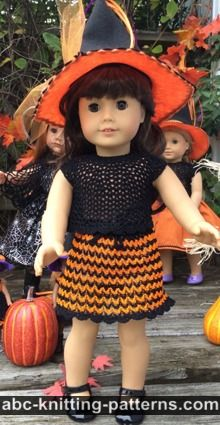 American Girl Doll Free Crochet Pattern by ABCknitting-patterns.com - Halloween Skirt and Top