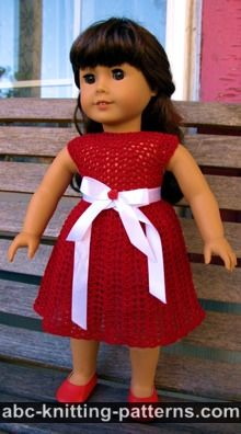 American Girl Doll Free Crochet Pattern by ABCknitting-patterns.com - Christmas Dress with Tulle Underskirt and White Satin Belt