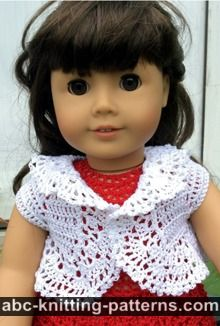 American Girl Doll Free Crochet Pattern by ABCknitting-patterns.com - Vintage Lace Bolero
