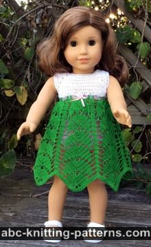 American Girl Doll Free Crochet Pattern by ABCknitting-patterns.com - Tropical Vacation Dress