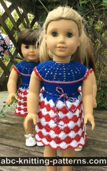 American Girl Doll Free Crochet Pattern by ABCknitting-patterns.com - Independence Day Dress